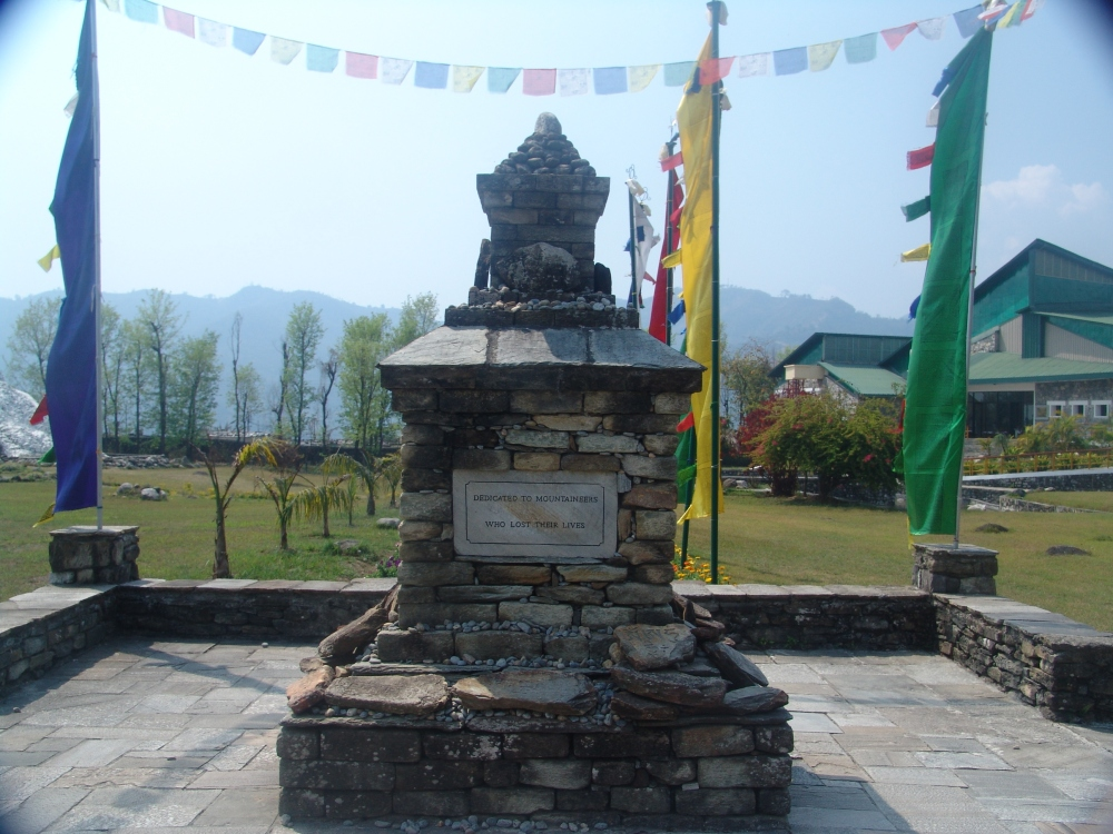 A stone tomb dedicated to Mountaineers at International Mountain Museum