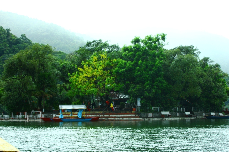 The Taal Barahi temple in the middle of Phewa Lake