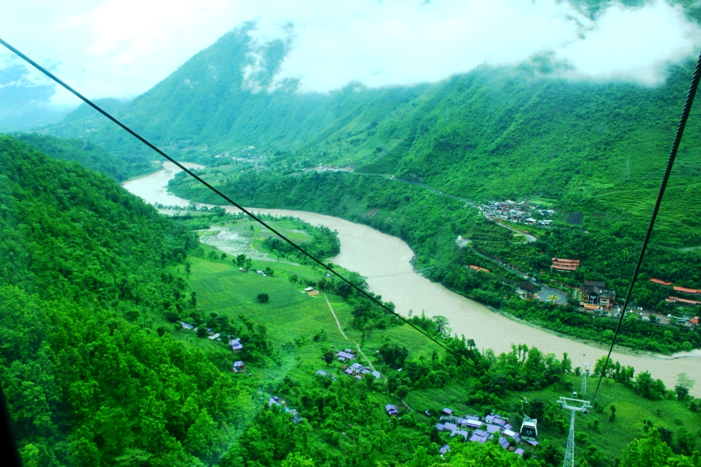 Stunning views of the Nepal countryside through the cable car