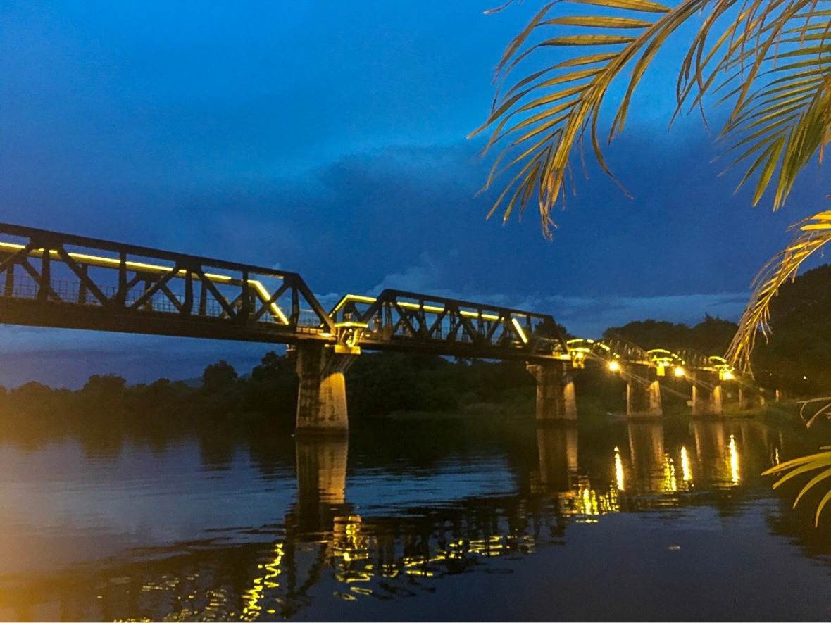 The lit up bridge on River Kwai